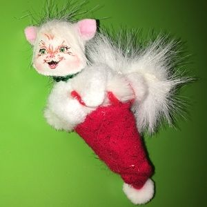 "5.5"" annalee mobiltee kitty cat stocking ornament"